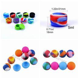 Bolas de silício on-line-Suporte da forma da bola Antiaderente 3 ml 5 ml frascos de silicone dab cera vaporizador recipiente de óleo de silicone cera reutilizável de silicone estanho case para jar e cig