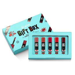 Texturas de labios online-Kit de maquillaje de brillo de labios 5pcs aceite de labios de larga duración DIY impermeable suave textura mate líquido lápiz labial kit de cosméticos