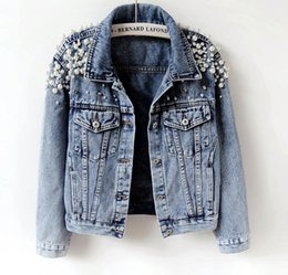 2019 donna di jean lungo jean Primavera Autunno Donna Cappotti basic Donna Giacca di jeans Perle Perline Jeans di moda Cappotto Giacche a maniche lunghe allentate 898 sconti donna di jean lungo jean