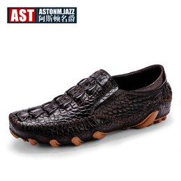 Scarpe in pelle alligatore online-Mocassini da uomo in vera pelle di alligatore di marca SLIP-ON octopus mocassini con stampa coccodrillo uomo d'affari scarpe casual