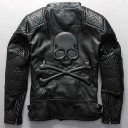 Anzug schief online-Relief Schädel-Muster Motorradjacke schwarz cowskin Kragen Oblique Reißverschluss stehen kühle echte Lederjacke Biker paßt männlich