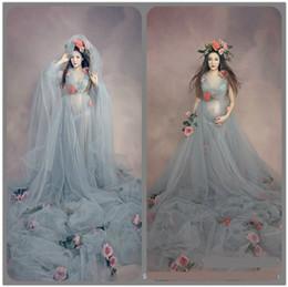 Maternidade fotografia flores on-line-Vestido de Maternidade Maxi para Photo Shoot Mulheres grávidas roupas de fotografia dressLong drag9 Flower Brooch suit