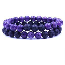 Conjunto de joyas de turquesa online-Nueva curación Pareja de piedra natural Conjuntos de pulseras con cuentas Lava Rock turquesa Cuentas de ojo de tigre cadenas Wrap Bangle Fashion DIY Jewelry Gift