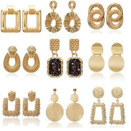 Gran colgante vintage online-2019 pendientes de la vendimia grandes para las mujeres pendientes de la declaración geométrica de color dorado pendientes pendientes de metal de moda joyería de moda
