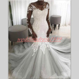 Robes de filles nues en Ligne-Elegant Black Girl robes de mariée africaine sirène col en V Illusion Sheer Lace Plus Size Robe de mariée Mariage robes de mariée pour la mariée