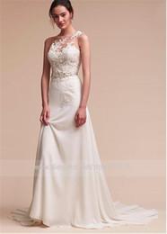 Bijou fantastique décolleté gaine / colonne robe de mariée avec appliques de dentelle perlée perlant ceinture longue robe de mariée ? partir de fabricateur