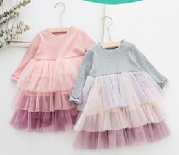 горячие розовые свадебные платья ребенка Скидка NEW Одежда для девочек Платья Детский бутик 3-х слойное сетка Лоскутное платье Девушка Элегантное платье Sring Fall с длинным рукавом