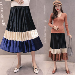 pumps clothing Promo Codes - Pregnant Women Stitching Skirt Maternity Designer Clothes Pumping Pleated Skirt Maternity Rainbow Contrast Velvet Skirt Cotton 19