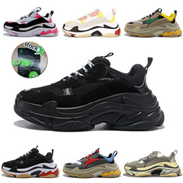 vintage cotton stockings Coupons - Stock X Triple S Luxury Designer platform sneakers 17FW Bulky Bottom Vintage Black Beige Red Mens Womens triple-s Casual Sports Dad Shoes