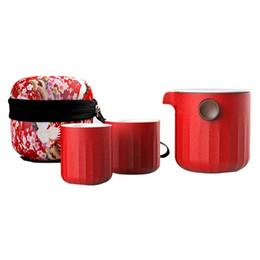 Copa rápida DehuaYao Woodpecker cerâmica, jogo de chá artesanal incluem 1pot + lip 2cups com bolsa de viagem, bule e xícara de chá de Fornecedores de presente da bacia de peixes