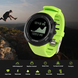 Termómetro de escalada online-SUNROAD Reloj deportivo Altímetro Barómetro Termómetro Brújula Monitor de ritmo cardíaco Podómetro Digital Running Climbing Smart Watch