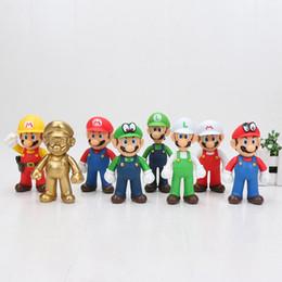Fabricants de poupées en Ligne-10 cm Super Mario Figurines Jouets Super Mario Bros Luigi Vert Chapeau Blanc Or Mario Maker Odyssey Figurine PVC Jouet Poupées