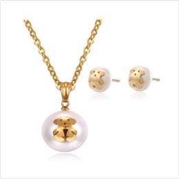 Boucles d'oreilles ours en Ligne-Teddy Bear Necklace Earrings Set Pearl Bear Bijoux pour les femmes
