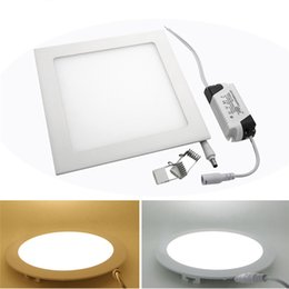 Pannello di griglia di luce online-Light Panel ultra sottile 3W 4W 6W 9W 12W 15W 18W 21W LED superficie del soffitto da incasso griglia incasso rotonda / luci interne quadrati AC110-265V