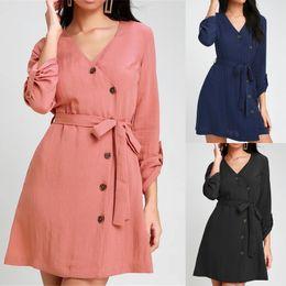 Canada Robe pour femme Française élégante couleur unie taille haute taille haute col en V Jupe trapèze en mousseline à manches longues Offre