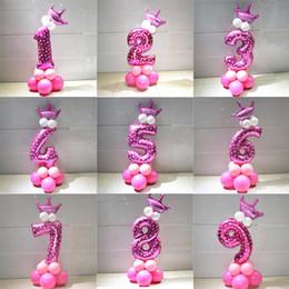 conjuntos de decoración de la ducha del bebé Rebajas 2019 1 juego Ballons Azul Rosa de láminas Número globo de látex espesa de aire con Corona Aniversario Baby Shower fiesta de cumpleaños de los niños Decoración
