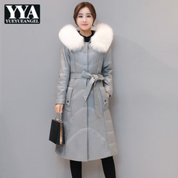 aabc690f459 Faux Fox Fur Collar Hooded Womens PU Leather Down Jacket High Quality Slim  Belt Office Ladies Overcoat Plus Size Clothes Female