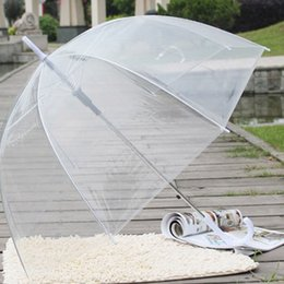 see through umbrellas Promo Codes - Large Clear Dome See Through Umbrella Handle Transparent Walking Lady Windproof Rain Protecting Umbrella