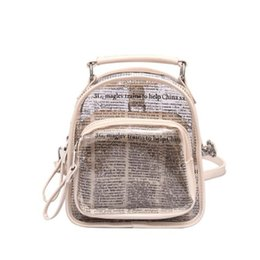 newspaper bags Promo Codes - 2019 hot women pvc travel bags printed letters newspaper backpack Transparent bags set multifunctional drop shipping M471