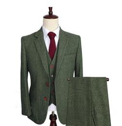 melhor homem casamento terno verde Desconto Wedding Lã Tweed dos homens verdes Ternos 3 Pieces Formal lapela Notch Groomsman smoking Blazer Slim Fit Inverno Best Man Suit (Blazer + colete + calça)