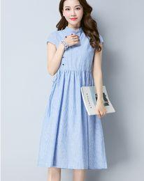 Le donne cinesi vestono stili online-vestito da estate di stile cinese delle donne una linea di abbigliamento informale abito di cotone di lino a righe allentato vestidos de festa di trasporto