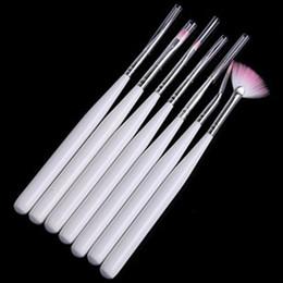 escovas de fibra Desconto 7 Pcs Nail Art polonês pincéis canetas para pintura de unhas de desenho Escova Dicas ferramentas Conjunto de Fibra De Pele Cosmética