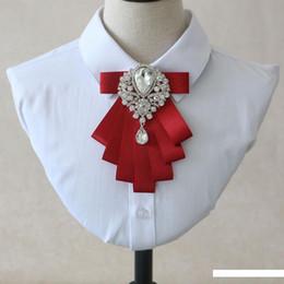 casamento vermelho do laço da camisa preta Desconto O noivo do casamento camisa dos homens do laço do arco da Red Bow Tie Men Acessórios de Moda Preto Casual Versão coreana do colar da flor do casamento