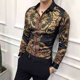 черная юбка выпускного платья Скидка  black gold printed shirt male 2019 new slim long-sleeved shirt Camisa Masculina petticoat men's social club prom