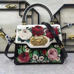 Peonia s online-2009 European e American New Peony Flower Printing Lady pulsante Lock-bag Retro-vintage Rose stampa singola spalla Skew Pack