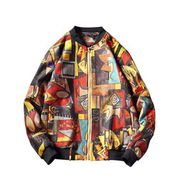 Marcas de roupas japonesas homens on-line-Marca Estilo Japonês Hip Hop Impressão Jaqueta Bomber Homens Roupas Outono Inverno Streetwear Homens Jaqueta Casaco Mens Blusão Tops Tamanho M-5XL