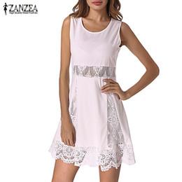 2019 vestito dell'uncinetto di modo della signora Fashion Mini Dress 2019 ZANZEA Sundress femminile Donna Lace Crochet Party Tunica Vestidos Lady senza maniche Summer Dress Oversize vestito dell'uncinetto di modo della signora economici