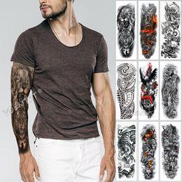 2019 tatuajes de henna en la muñeca Brazo grande tatuaje de la manga del bosquejo del tigre del león impermeable etiqueta engomada del tatuaje temporal salvaje feroz animal hombres Full Bird Totem tatuaje