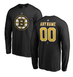 t-shirts personnalisés à manches longues Promotion T-shirt Authentique T-shirt à Manches Longues Homme Noir Personnalisé Bruins Fanatics de Boston pour Hommes