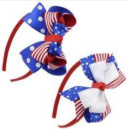 Fascette a fascia online-Fermaglio per capelli per bambini 4th of july Independence Day star stripe bowknot bandiera nazionale fasce per bambina estate capelli archi