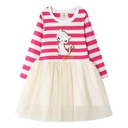Верхнее нижнее платье из кружева онлайн-Европейский стиль платье принцессы Полосатый Top + Lace Gauzy платье Bottom Baby Girl моды платье весна осень 6 шт / комплект LA216