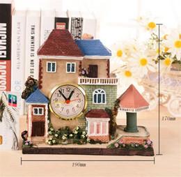 2019 строительные часы Building alarm clock European creative house desk clock craft pendulum birthday gift bedroom bell Bedside ornaments B2195 скидка строительные часы