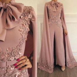2019 frau formale overalls Frauen-Overall-Weinlese-mit einer Kappe bedeckte Spitze-Applikation wulstig für Abendgesellschaft-lange Hülsen-bodenlange formale moslemische Kleider-Kleider günstig frau formale overalls