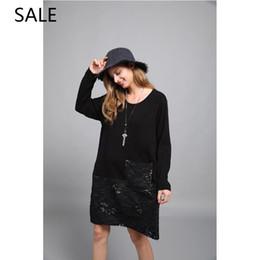 vestito nero dalla signora grassa Sconti Vestito da donna Plus Size Loosie Girocollo a maniche lunghe Design Fat Ladies Daily Dress Casual Style Spring Leisure Black