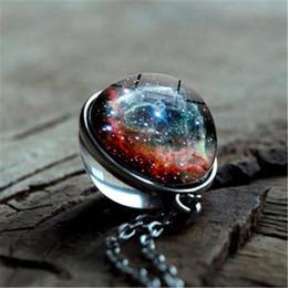collar de joyería hecho a mano Rebajas 2019 Nueva nebulosa Galaxy doble cara de joyería colgante collar Universo Planeta collar de la declaración de cristal cuadro del arte hecho a mano