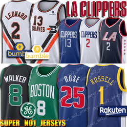 Kawhi 2 Leonard Clippers Jersey Celtic Kemba 8 Walker Jerseys Paul 13 George Derrick 25 Rose D'Angelo 1 Russell Camisa de basquete de