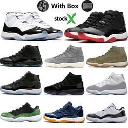 Dimensione 11 scarpe sportive blu online-Con la casella Stock X 2020 Concord 45 11s Uomini scarpe da basket 11 Bred Space Jam, argento metallizzato Blu Gamma XI Designer Sport Sneaker Dimensione 13-5,5