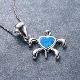 schildkröten ornamente Rabatt Schöne Lange Kette Herz Halskette 925 Sterling Silber Gefüllt Tier Ornament Blau Feueropal Nette Schildkröte Anhänger Halskette für Frauen Geschenke