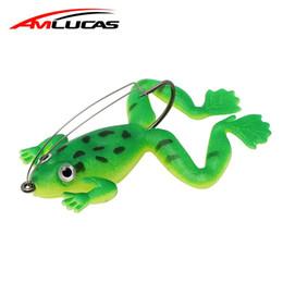 Gusano de goma señuelo online-Amlucas rana señuelo de la pesca 6 cm 5.2 g Caucho Suave Cebo 3 Colores Gusano Plástico Pez con Gancho Cebo Artificial Pesca Tackle WW1045