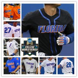 Camiseta de béisbol de costura personalizada online-NCAA Florida Gators Béisbol CWS cosido Jerseys Personalizado Cualquier número Nombre 6 Jonathan India 22 JJ Schwarz 8 Deacon Liput 9 Brady Smith