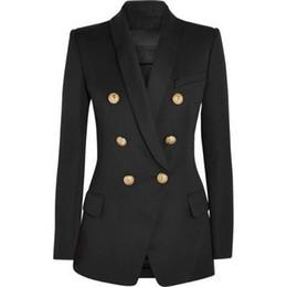 2019 weiße knöpfe einheitlich HOHE QUALITÄT Neue Mode 2018 Designer Blazer Jacke Frauen Gold Knöpfe Zweireiher Blazer Oberbekleidung Größe S-XXXL S18101305
