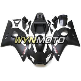 Deutschland Matte Black Sportbike Covers Panels für Yamaha YZF-600 R6 Baujahr 1998 99 00 01 2002 Komplettes Verkleidungskit Brand New Blue Black Plastic Cowling Versorgung