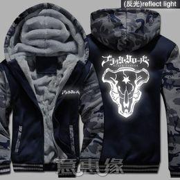 Hoodie preto grosso on-line-Quente trevo preto Brasão Hoodies Anime Yuno Asta com capuz novo inverno de espessura Zipper unisex casaco cardigan camisola
