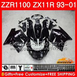 1998 zx11 fairing Desconto Corpo Para KAWASAKI NINJA ZX-11R ZZR1100 preto brilhante ZX11R quente 93 94 95 96 97 31HC.1 ZZR 1100 ZX 11R ZX11 R 1993 1998 1999 2000 2001 Carenagens