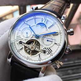 Marche di orologi svizzeri di lusso online-Top Luxury Watch Swiss Brand Mens Orologio meccanico automatico in pelle nera Moon Phase Casual Sport militare Orologi Relogio Masculino regalo