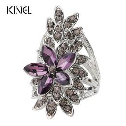 Placas de vidro roxas on-line-Kinel Moda Anéis De Cristal Flor Para As Mulheres AAA Roxo De Vidro Banhado A Prata Anel De Dedo De Casamento Jóias Finas Bague